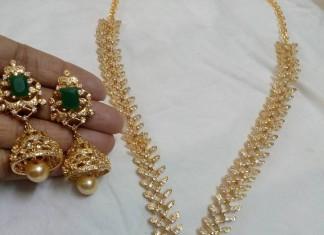 Artificial emerald stone necklace set