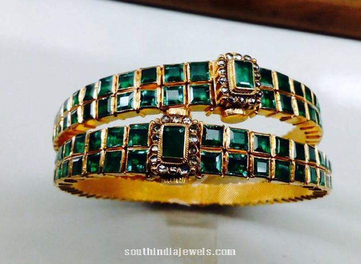 with emerald studded bangles gold searchcode