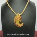 Imitation Short Necklace with Ruby Pendant