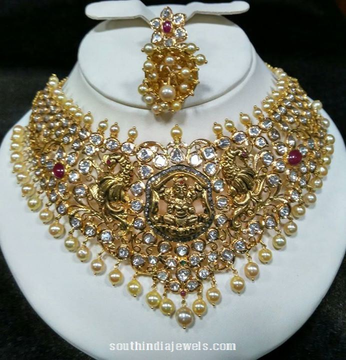 Gold Antique Lakshmi Choker Necklace