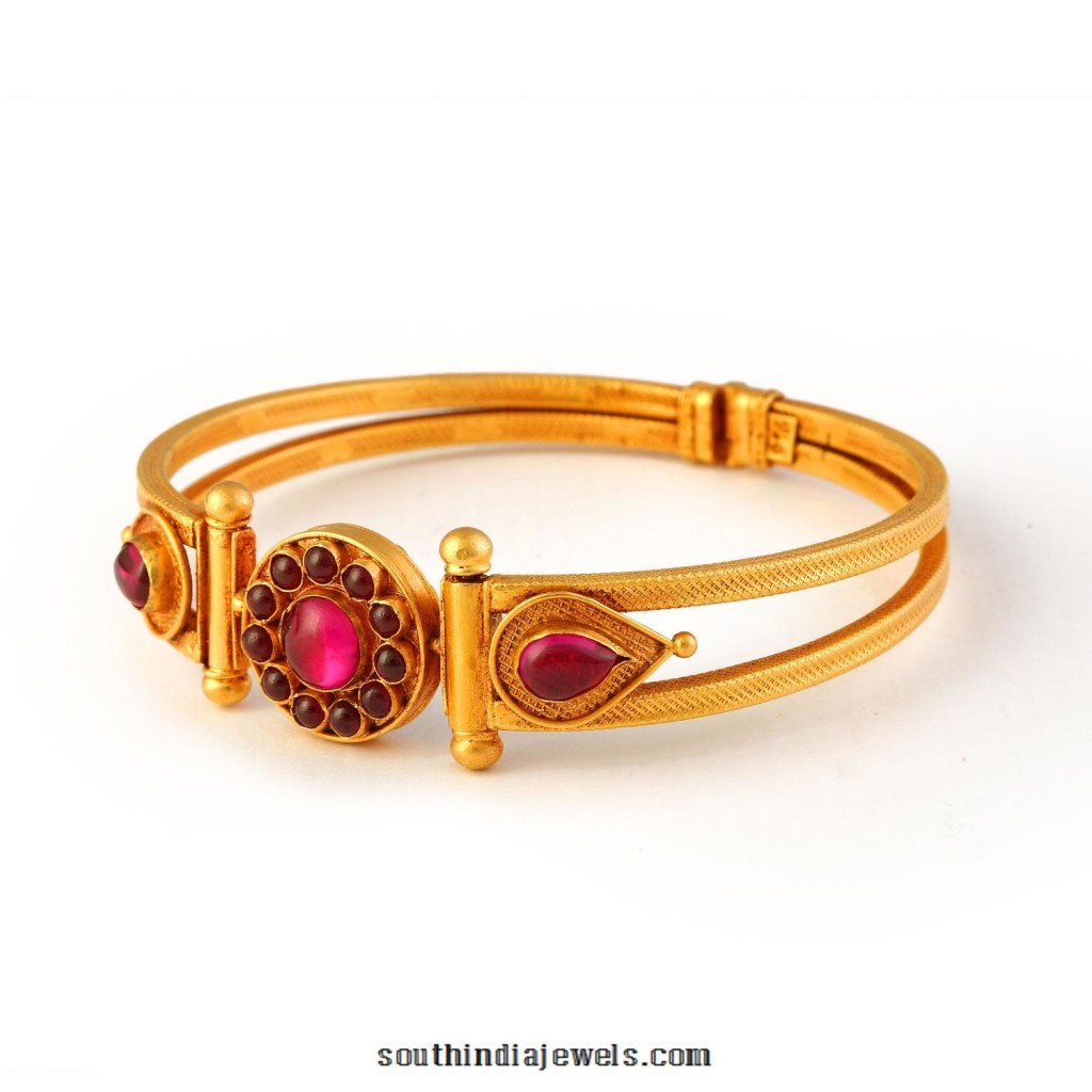 Gold kemp ruby bangle from Bhima Jewellers
