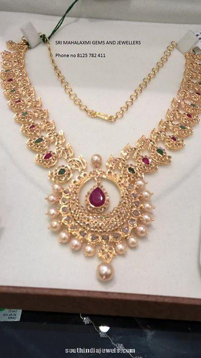 Gold Stone Necklace from Sri Mahalaxmi gems and jewels