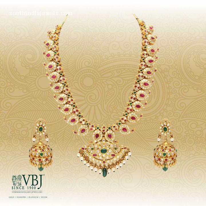 Gold Antique Mango Mala Necklace Set from VBJ