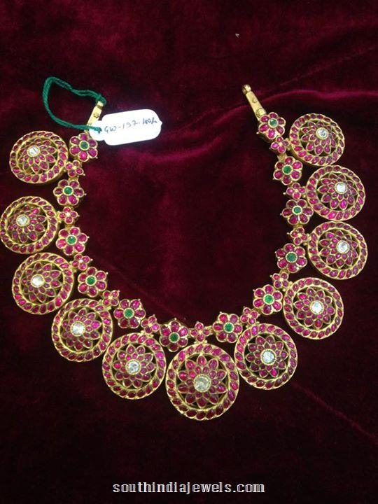 Gold Antique Ruby Necklace Design South India Jewels