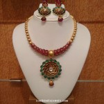22 Carat Gold Designer Ruby Emerald Necklace