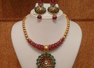 22 Caragt Gold Designer Ruby Emerald Necklace