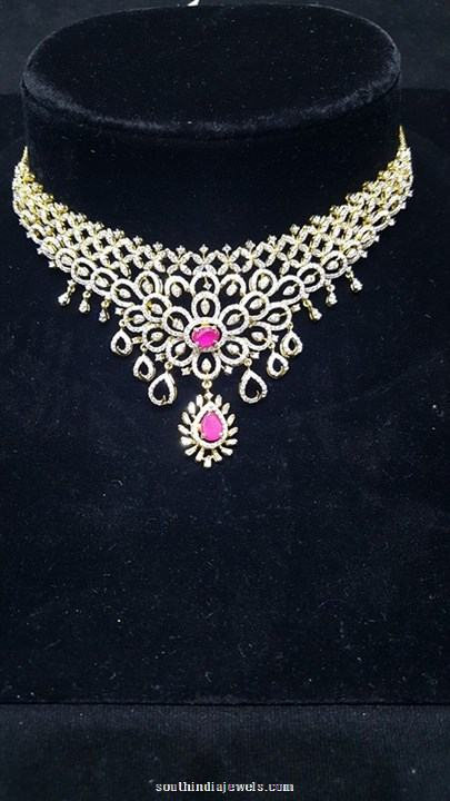 Gold Diamond Necklace with Pink Stones