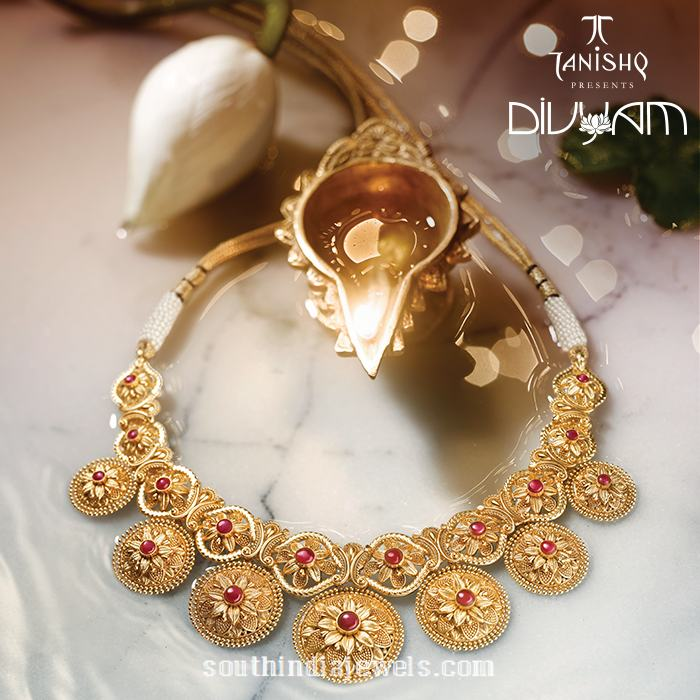 22k gold simple gold necklace design for inquiries please contact the - Gold Necklace Design From Tanishq Yam Collection