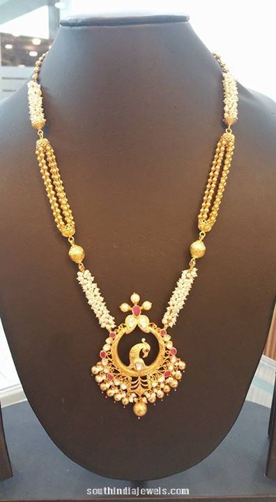Gold Pachi Long Necklace from Bhavani Jewellers