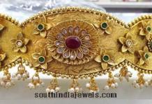 Gold plated antique vaddanam (ottiyanam)