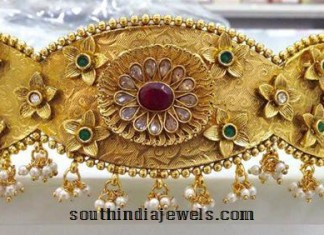 Gold plated antique vaddanam (ottiyanam)