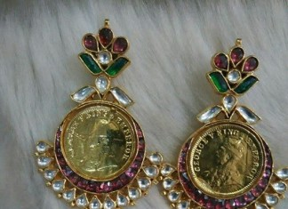 Gold plated kundan stone earrings