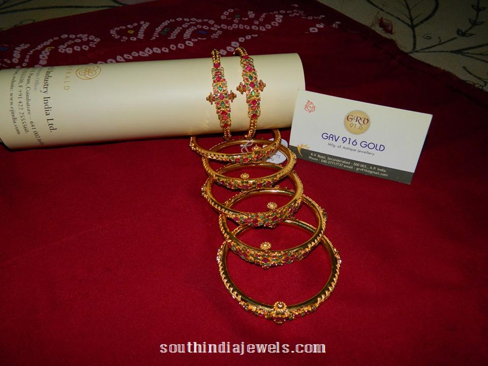 Gold Ruby Emerald Bangle GRV 916 Gold