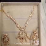 22k Gold White Stone Necklace Design