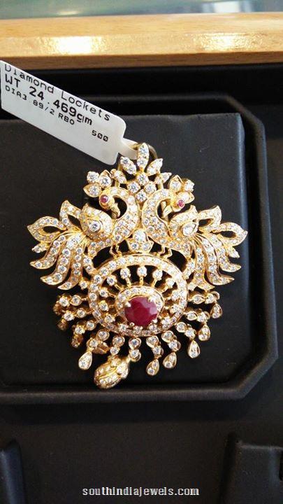 Gold Stone Peacock Pendant
