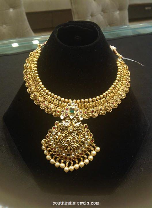 22k gold  grand attigai necklace design
