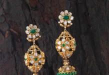 Green stone gold jhumka earrings design