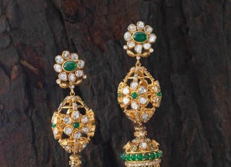 Green stone gold jhumka earrings design