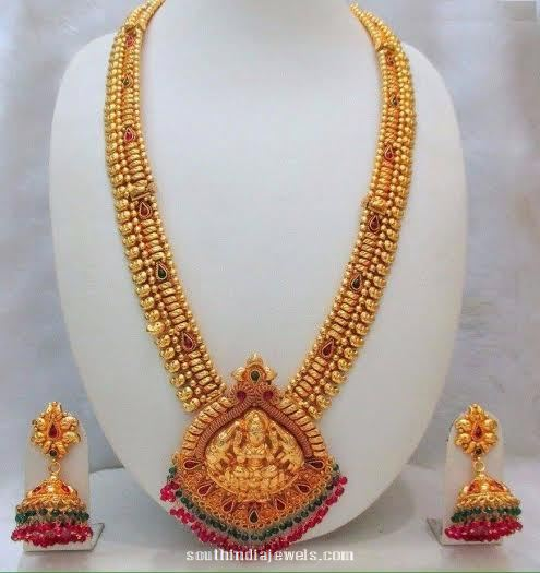 Imitation Antique Long Haram With Jhumkas South India Jewels