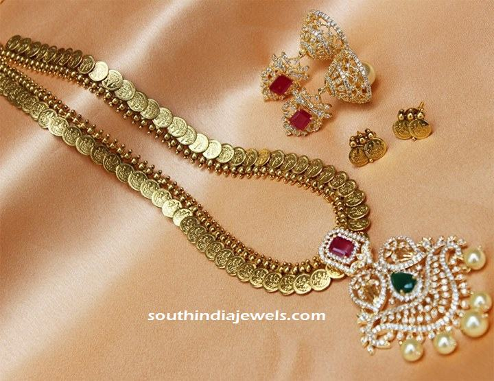 Imitation long kasumalai with earrings
