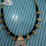 22k Gold Black Thread Emerald Necklace