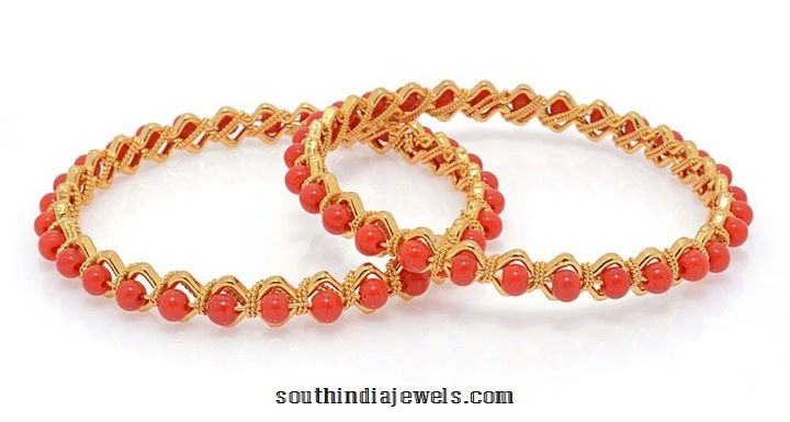 22k Gold Coral Bangle Design South India Jewels
