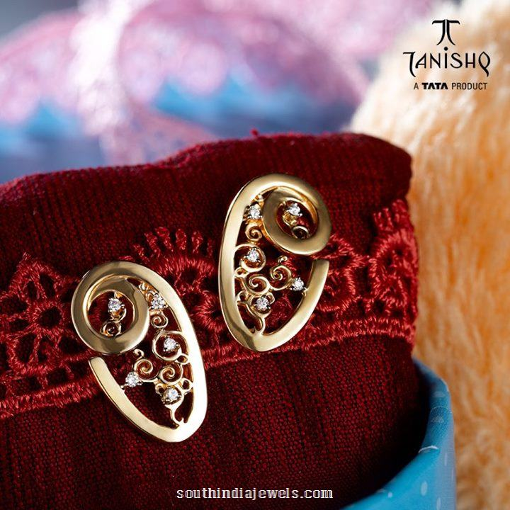 Gold diamond stud earrings from Tanishq
