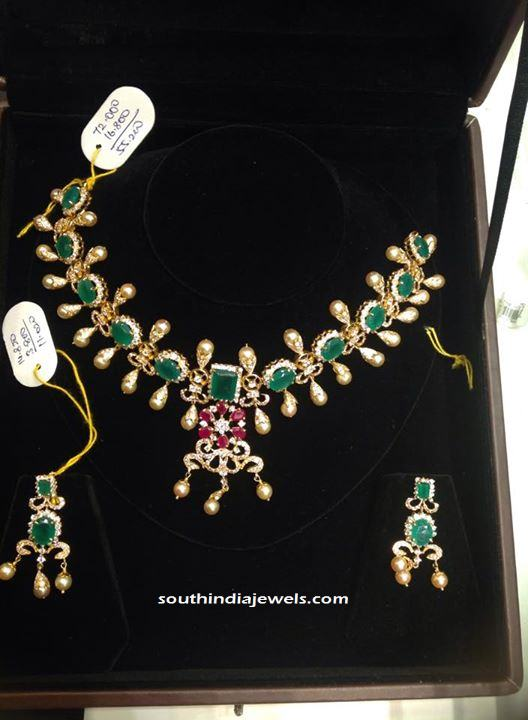 Gold Emerald Choker Necklace set with earrings