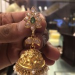Gold Jhumka with Green Stone & Pearls
