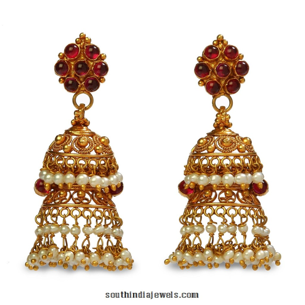 Gold Kemp Jhumka Designs From Bhima Jewels