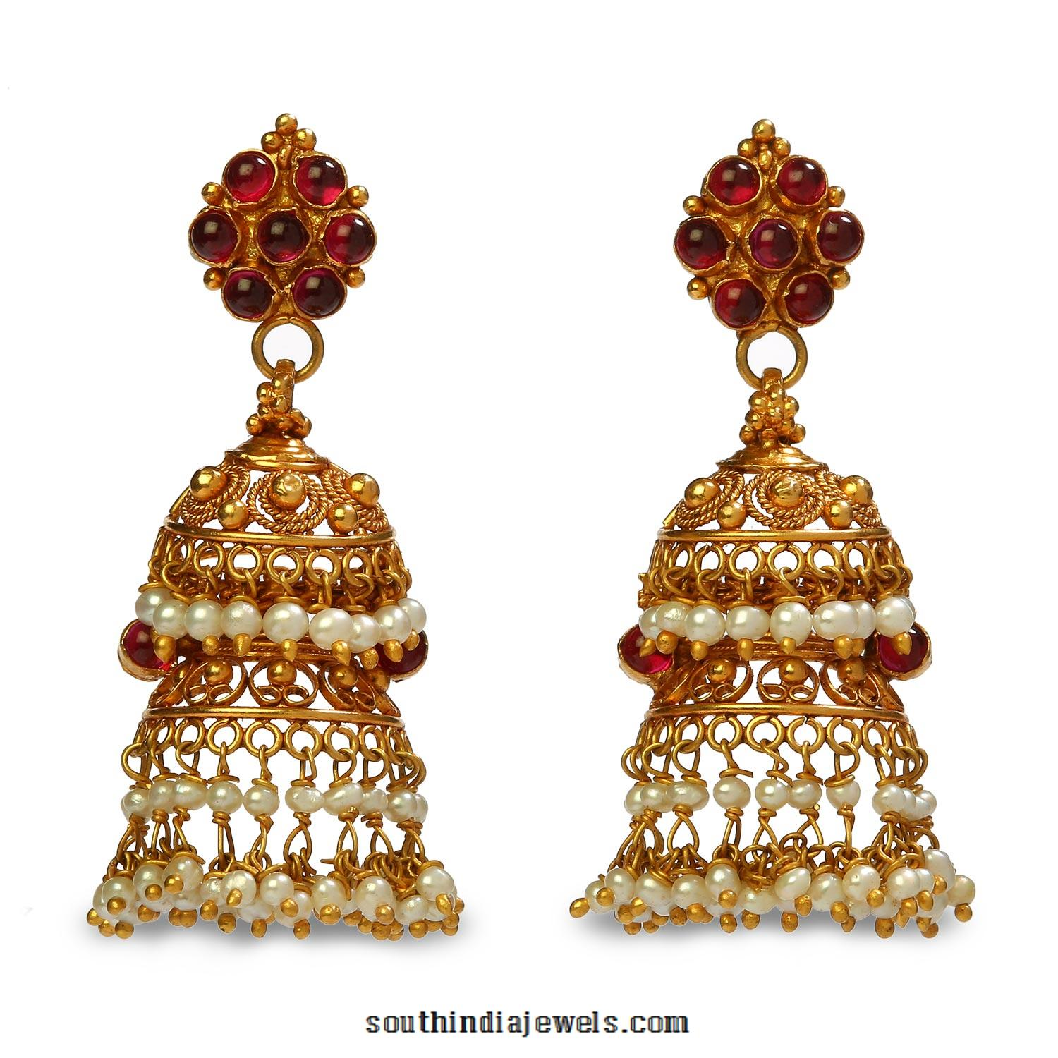 22K Gold Jhumka Earrings from Bhima Jewels ~ South India Jewels