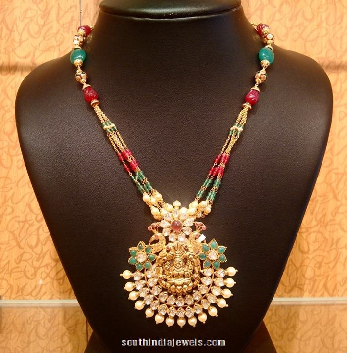 Light Weight Gold Pendant Mala Necklace