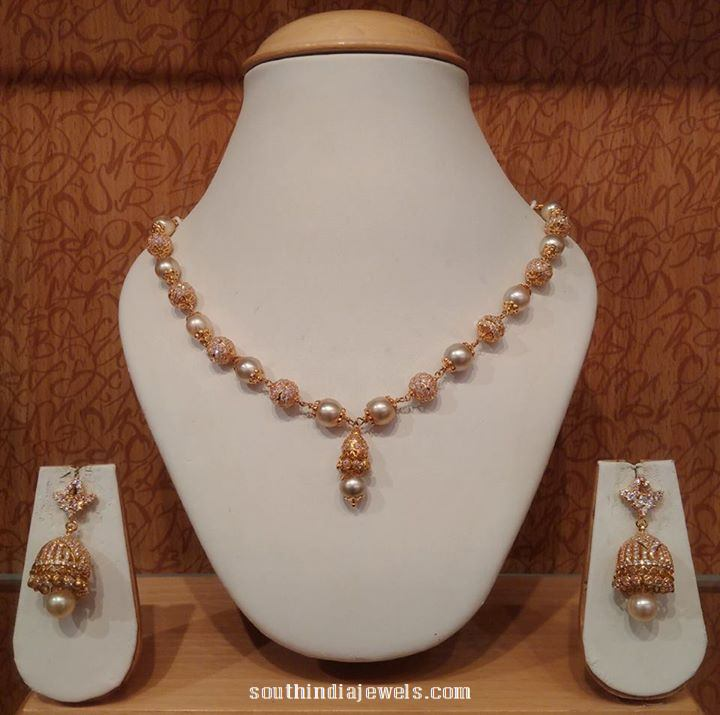 Gold pearl mala necklace naj