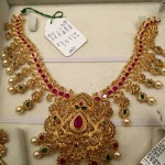 22K Gold Ruby Emerald Stone Necklace Design