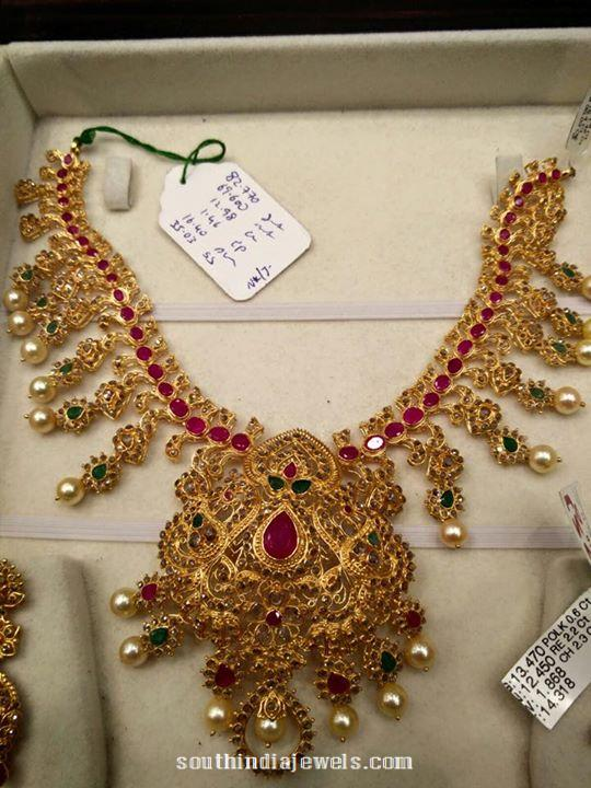 Gold Ruby Emerald Stone Necklace Design