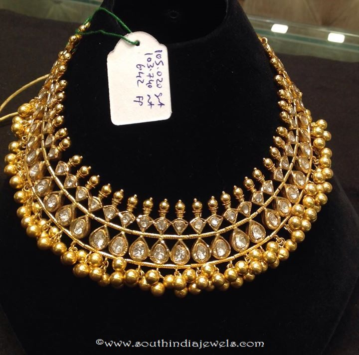 105 Grams Gold Polki Necklace Design ~ South India Jewels