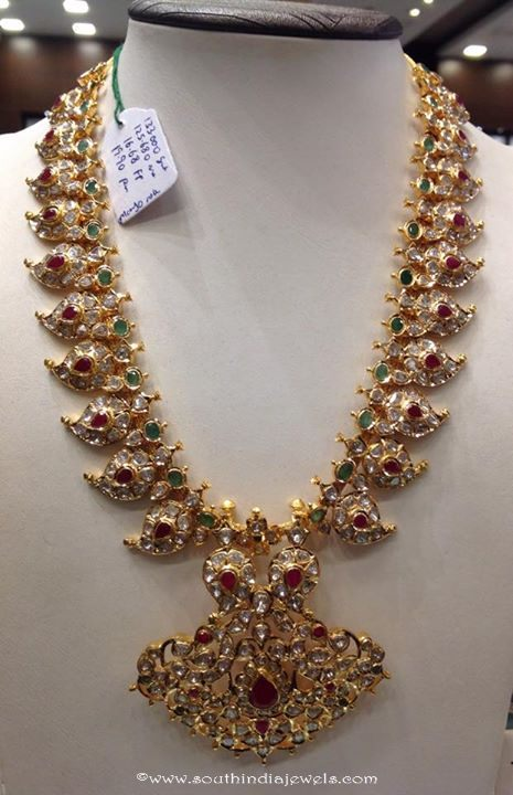 Gold Polki Mango Necklace Design