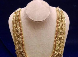 22 carat gold antique kasumalai with rubies and pearls