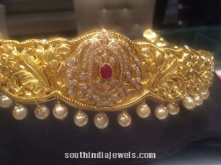 220 Grams Gold Vadanam with Pearls