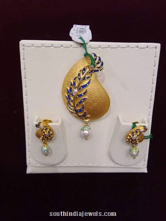 22k gold designer pendant set south india jewels 22k gold designer pendant set with earrings aloadofball Images