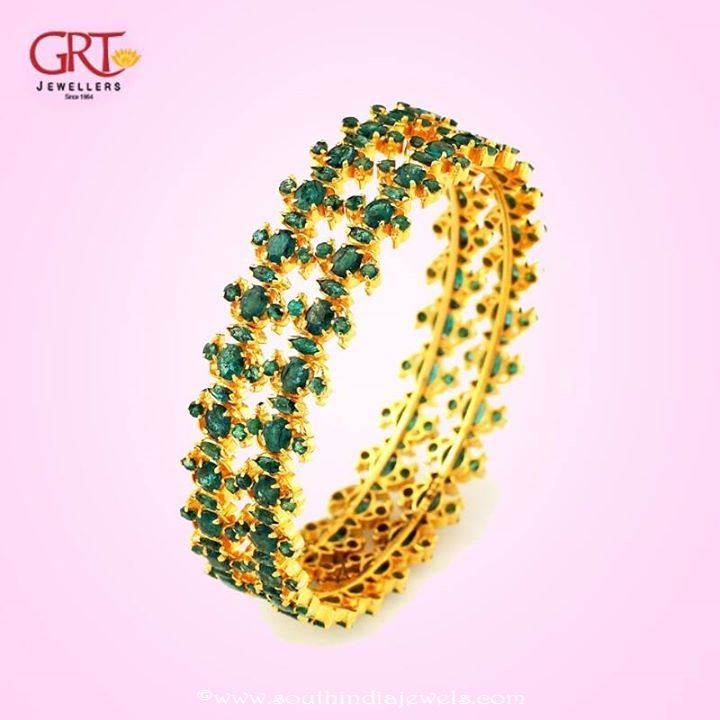 22k gold emerald bangle design from GRT Jewellers