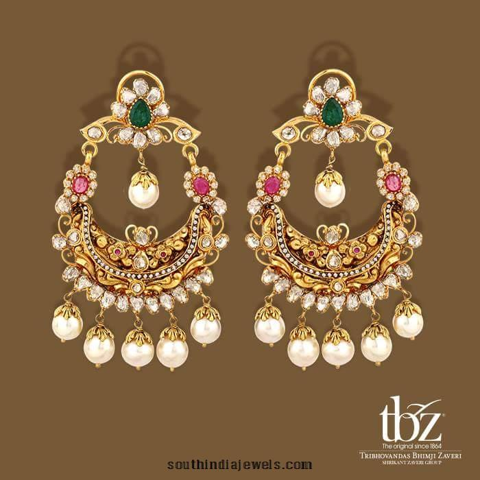 22k gold stone chanbali earings from TBZ