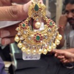22K Gold Stone Earrings with Pearls