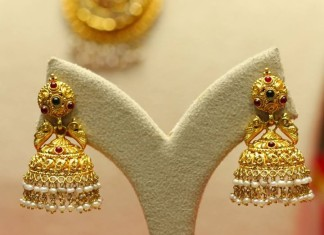 22k gold temple jhumkas from Manubhai Jewellers