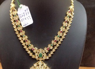 22k gold two layer polki necklace designs