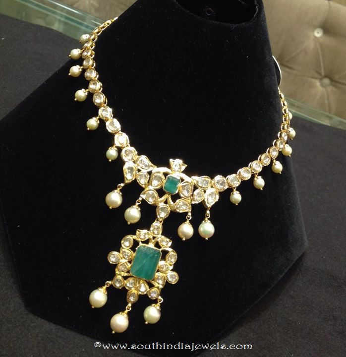 37 Grams Gold Polki Emerald Necklace