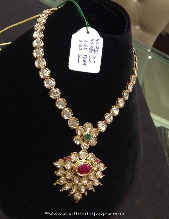 Gold Polki Attigai Necklace with weight