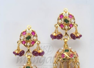 Antique Ruby Emerald Gold Jhumka