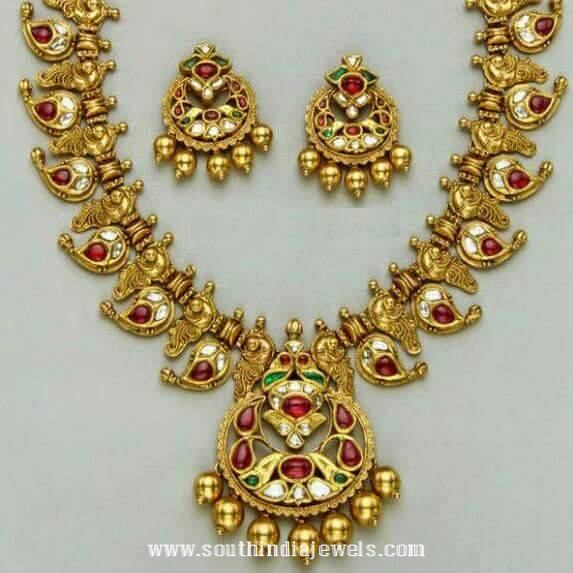 Gold Antique Ruby Mango Mala Designs