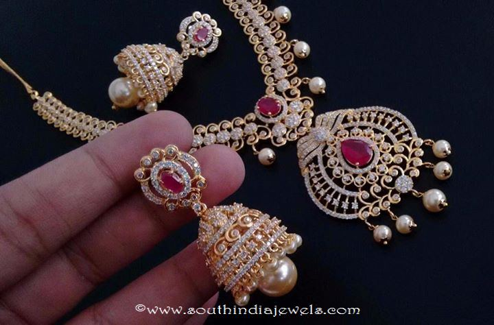 Artificial Stone Necklace Set with Jhumka Shobha Creations